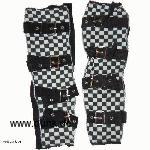 Arm warmers black white checker with buckles